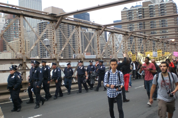 Protests on Brooklyn Bridge During OWS